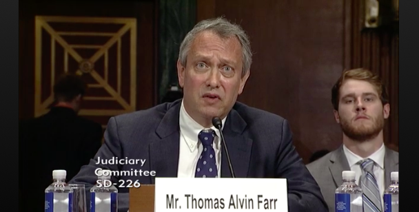 U.S. District Court nominee Thomas Farr testifies before the Senate Judiciary Committee in September. (CSPAN)