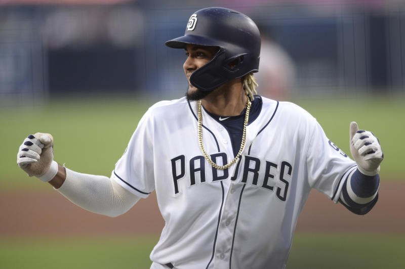 San Diego Padres' Fernando Tatis Jr. celebrates after hitting a home run during the first inning of a baseball game against the Baltimore Orioles, Monday, July 29, 2019, in San Diego. (AP Photo/Orlando Ramirez)