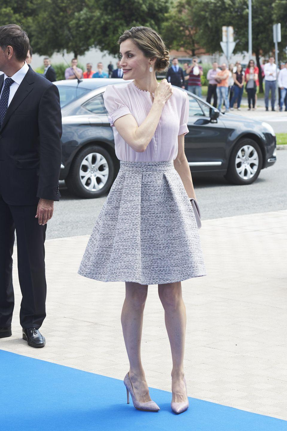 <p>She's an avid supporter of Spanish labels, such as couturier Felipe Varela and fast-fashion brands like Zara and Mango. Her skirt here, which she's worn before, is from Boss.</p>