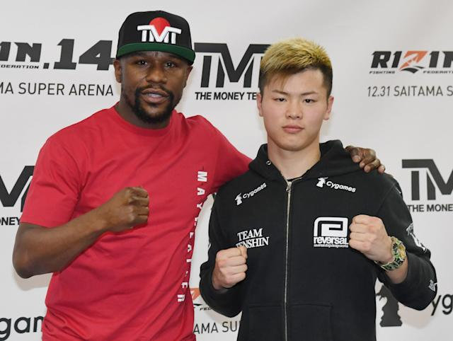 After weeks of theatrics, details were announced for Floyd Mayweather's fight with Japanese kickboxer  <span>Tenshin Nasukawa. (Getty)</span>