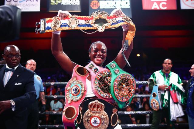 Claressa Shields celebrates after defeating Christina Hammer and unifying the middleweight division. (Stephanie Trapp/Showtime)