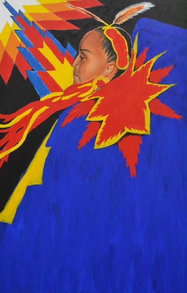 The annual event, A Youth Explosion (AYE) provides opportunities for young Indigenous people to express themselves artistically. Above is an original AYE painting by Keegan Starlight.  (Canada Bridges - image credit)