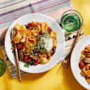 <p>This mushroom ragout is topped with dollops of ricotta, which cut through the acidity of the tomato-based sauce for a balanced flavor and creamy texture.</p>
