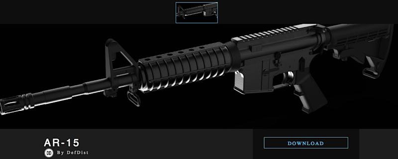 A screenshot of the Defense Distributed page offering downloadable blueprints for an AR-15. (Photo: Defense Distributed)