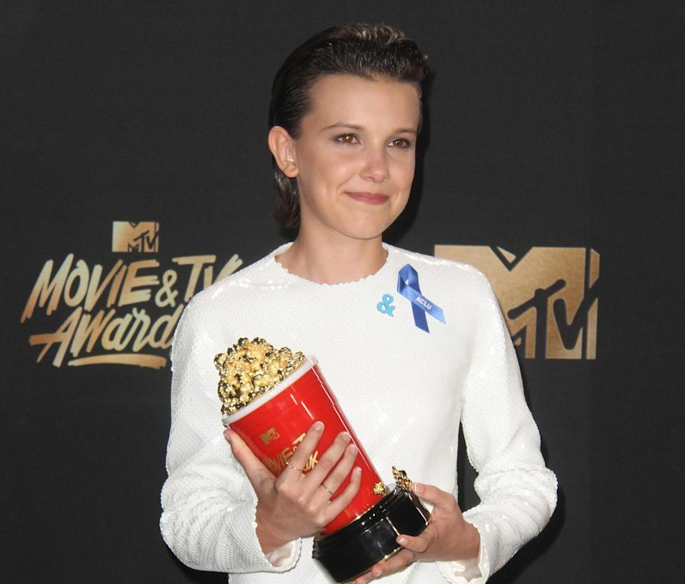 Millie Bobby Brown after her win at the 2017 MTV Movie & TV Awards (credit: WENN)