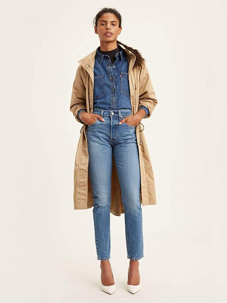 """These have that vintage cool-girl feel you've seen searching for.<br /><br /><strong></strong><strong>Promising review:</strong>""""Everything about these jeans are amazing! I usually wear a 26 and got a 27, and they fit perfectly. The wash and distressing gave the jeans a vintage feel. A little stiff at first, but after a couple of wears, they are my favorite and go-to jeans!"""" —<a href=""""https://amzn.to/2RCiRWl"""" target=""""_blank"""" rel=""""nofollow noopener noreferrer"""" data-skimlinks-tracking=""""5753950"""" data-vars-affiliate=""""Amazon"""" data-vars-href=""""https://www.amazon.com/gp/customer-reviews/R19LJZJ18EQRTI?tag=bfabby-20&ascsubtag=5753950%2C7%2C30%2Cmobile_web%2C0%2C0%2C0"""" data-vars-keywords=""""cleaning,fast fashion"""" data-vars-link-id=""""0"""" data-vars-price="""""""" data-vars-retailers=""""Levi,Amazon"""">Danecort</a><br /><br /><strong>Get them from Amazon for<a href=""""https://amzn.to/3ahyNDM"""" target=""""_blank"""" rel=""""nofollow noopener noreferrer"""" data-skimlinks-tracking=""""5753950"""" data-vars-affiliate=""""Amazon"""" data-vars-asin=""""B01M9I54UR"""" data-vars-href=""""https://www.amazon.com/dp/B01M9I54UR?tag=bfabby-20&ascsubtag=5753950%2C7%2C30%2Cmobile_web%2C0%2C0%2C15974045"""" data-vars-keywords=""""cleaning,fast fashion"""" data-vars-link-id=""""15974045"""" data-vars-price="""""""" data-vars-product-id=""""18090277"""" data-vars-product-img=""""https://m.media-amazon.com/images/I/31EKpvTS17L.jpg"""" data-vars-product-title=""""Levi's Mile High Super Skinny Women's Jeans"""" data-vars-retailers=""""Levi,Amazon"""">$98+</a>(available in sizes 23-34 and in six colors).</strong>"""