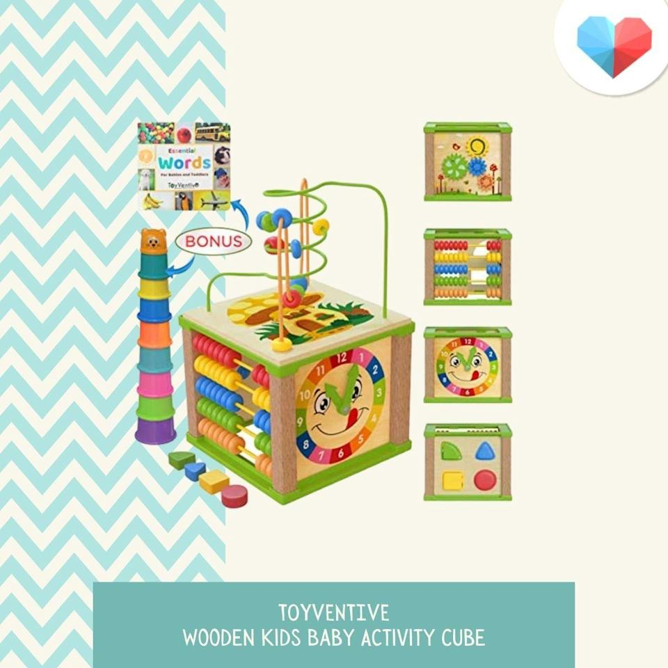 TOYVENTIVE Wooden Kids Baby Activity Cube - Best STEM Toy for Exploration