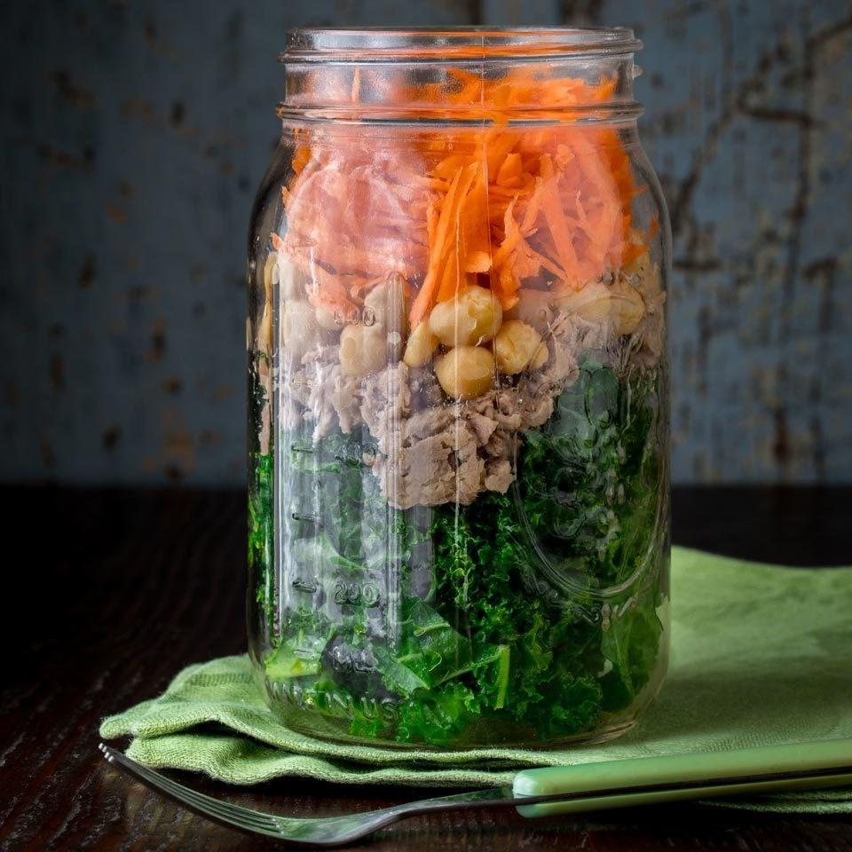 <p>This power salad will keep you fueled for hours, thanks to 26 grams of protein and 8 grams of fiber. Tossing the dressing and kale, and then letting it stand in the jar, softens it enough so you don't need to massage or cook it to make it tender.</p>
