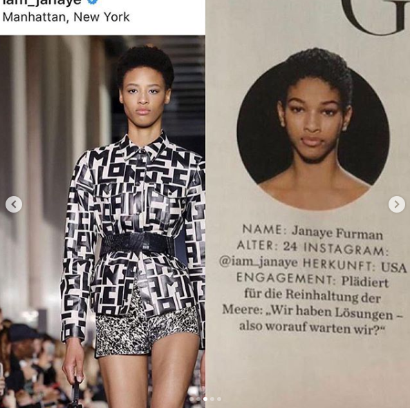 Naomi compared a photo of Janaye Furman (left) with the photo ELLE used, which is actually a photo of model Naomi Chin Wing.