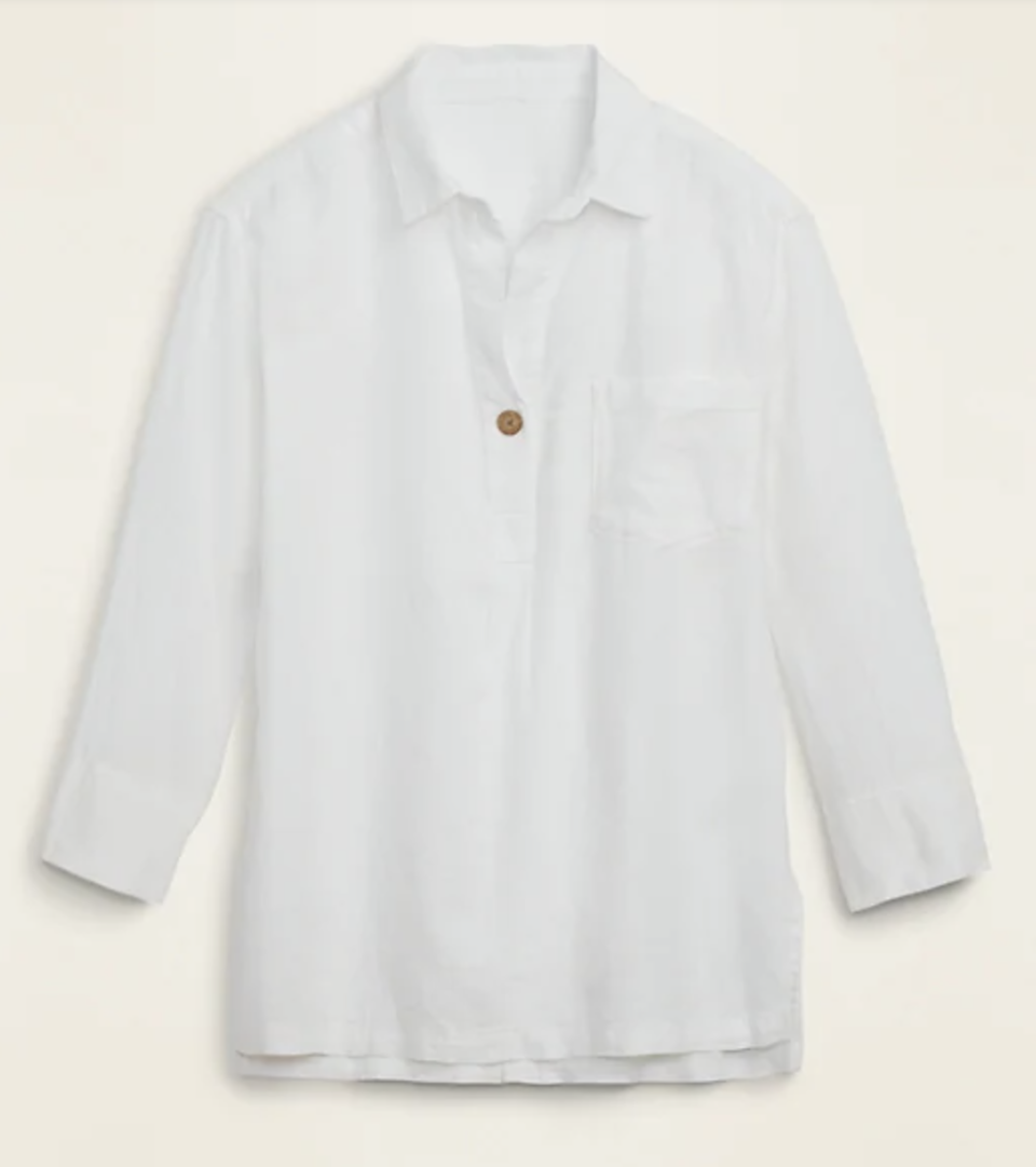 Linen-Blend Popover Tunic Shirt (Credit: Old Navy)