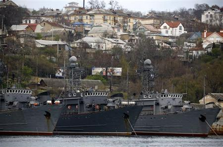 Russian Navy vessels are anchored at a navy base in the Ukrainian Black Sea port of Sevastopol