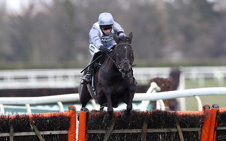 My Drogo clears the last before winning the Betway Mersey Novices' Hurdle - PA