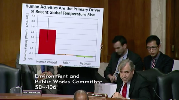 A staffer forSen. Jeff Merkley (D-Ore.) holds up a sign citing data from thefederal government's latest climatechange report, released by the Trump administration. (Senate EPW)