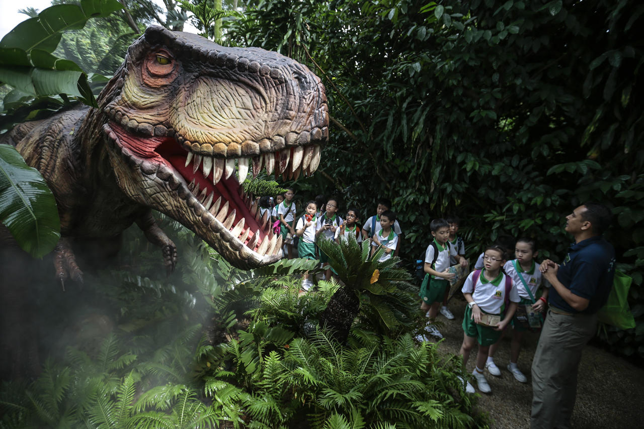 <p>A zoo guide (R) followed by primary school students look at an animatronic display depicting a Tyrannosaurus Rex during a preview of the Zoo-Rassic Park attraction at the Singapore Zoo in Singapore, Nov. 16, 2016. (Photo: WALLACE WOON/EPA) </p>