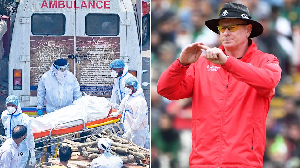Pictured here, umpire Paul Reiffel and scenes in India amid the Covid-19 crisis there.