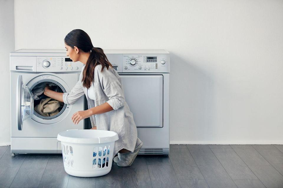"<p><a href=""https://coldwatersaves.org"" rel=""nofollow noopener"" target=""_blank"" data-ylk=""slk:About 90%"" class=""link rapid-noclick-resp"">About 90%</a> of the energy your washing machine uses goes towards heating the water. To save energy, wash your laundry on the cold water setting for at least one load a week. Plus, cold water may even be better for your clothes — it can <a href=""https://www.goodhousekeeping.com/home/cleaning/a30982648/how-to-get-blood-out-of-clothes/"" rel=""nofollow noopener"" target=""_blank"" data-ylk=""slk:remove many stains from clothing"" class=""link rapid-noclick-resp"">remove many stains from clothing</a>, while hot water tends to shrink, fade, or wrinkle certain fabrics. </p>"