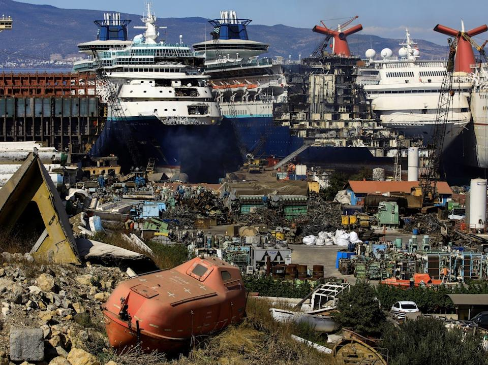 "Decommissioned cruise ships are being dismantled at Aliaga ship-breaking yard in the Aegean port city of Izmir, western Turkey, October 2, 2020. <p class=""copyright"">REUTERS/Umit Bektas</p>"
