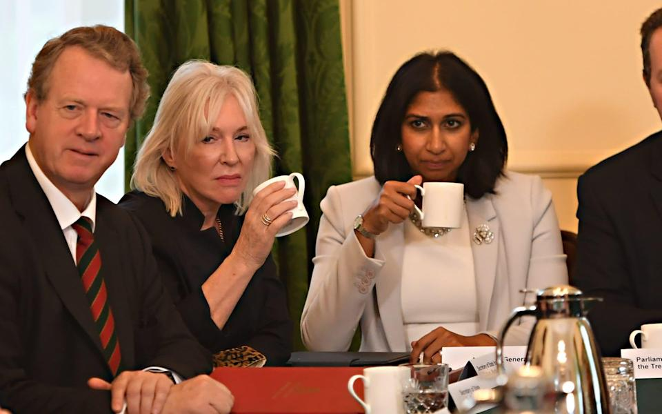 Alister Jack, the Scottish Secretary, Nadine Dorries, the Culture Secretary, and Suella Braverman, the Attorney General, on Friday during the first Cabinet meeting since the reshuffle - Jeremy Selwyn/Evening Standard
