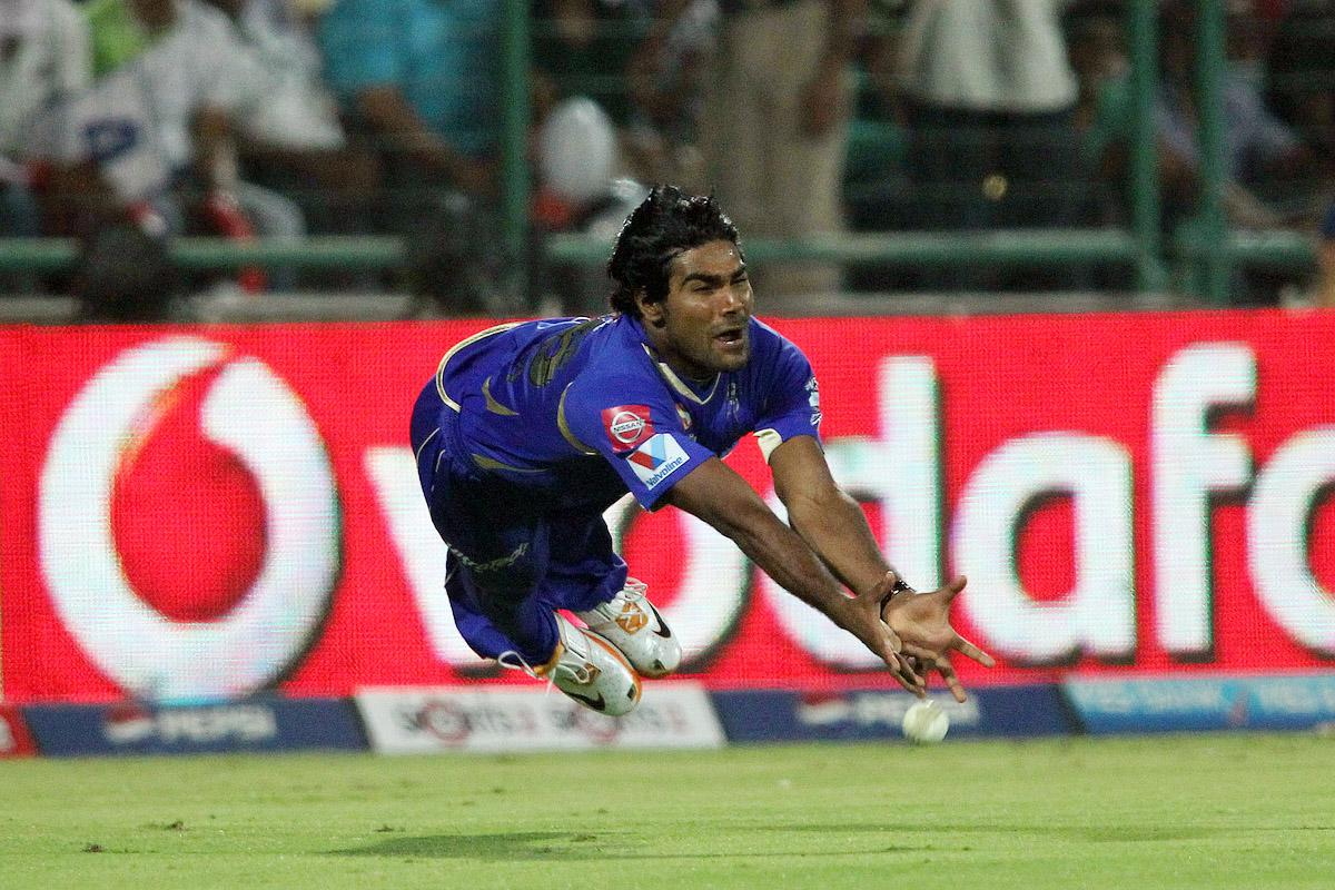 Rahul Shukla of Rajasthan Royals dives but fails to take the catch during the eliminator match of the 2013 Pepsi Indian Premier League between The Rajasthan Royals and the Sunrisers Hyderabad held at the Feroz Shah Kotla Stadium, Delhi on the 22nd May 2013.(BCCI)