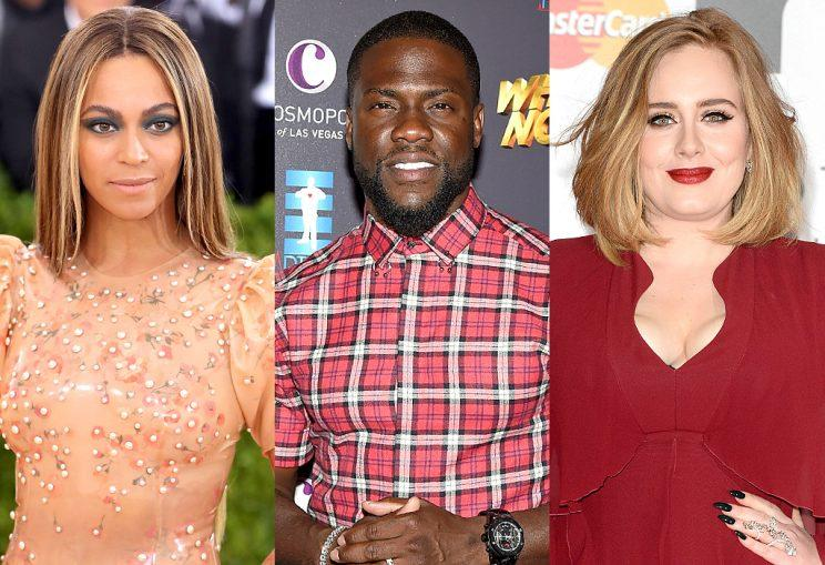 Beyoncé, Kevin Hart, and Adele are all striking a pose. (Photo: Getty Images)