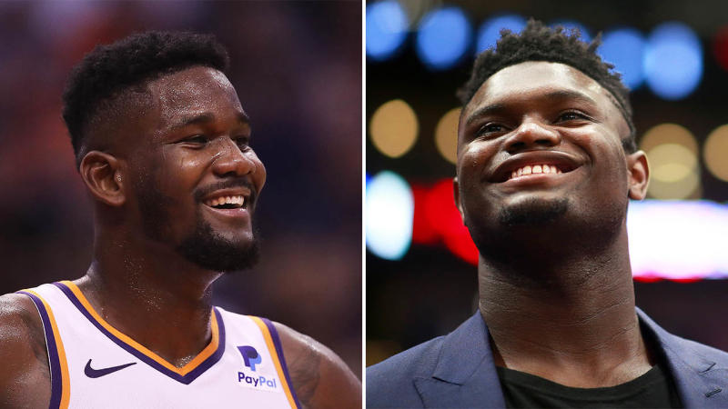 Deandre Ayton (pictured left) smiling for the Suns and Zion Williamson on the bench.