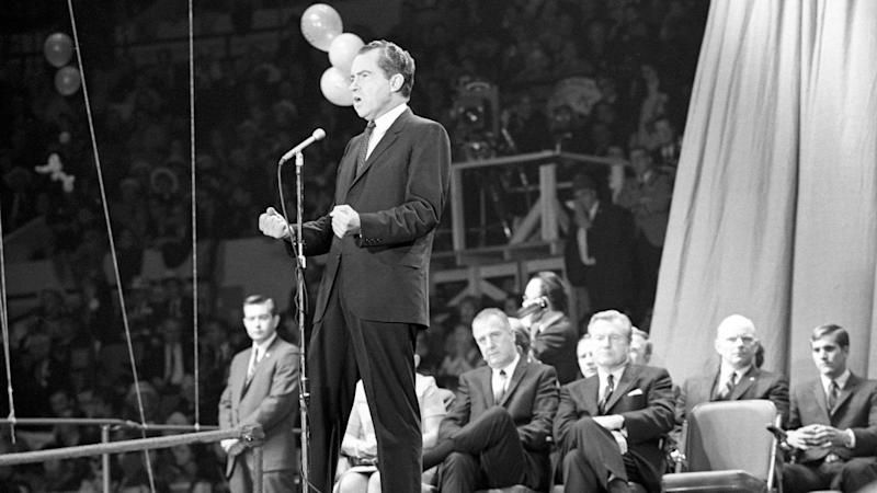 Richard Nixon gives a campaign speech in 1968.