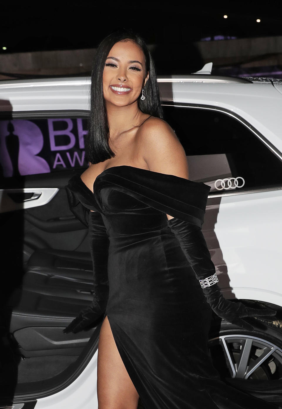 Maya Jama arrives in an Audi at the BRIT Awards at The O2 Arena on February 18, 2020 in London, England. (Photo by David M. Benett/Dave Benett/Getty Images for Audi UK)