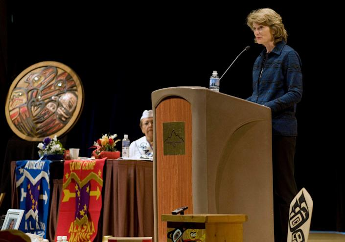 Sen. Lisa Murkowski speaks at the Alaska Native Brotherhood-Alaska Native Sisterhood Grand Camp Convention on Oct. 4, 2012, in Sitka, Alaska. In her remarks, she credited a strong and well-organized Native turnout for her successful write-in bid in 2010.