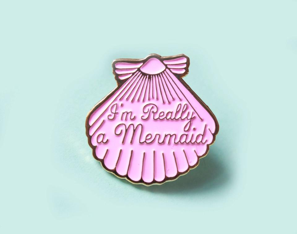 """MermaidShell Enamel Pin, $8.50, <a href=""""https://www.etsy.com/listing/398673121/mermaid-pink-shell-enamel-pin-gifts-for?ga_order=most_relevant&ga_search_type=all&ga_view_type=gallery&ga_search_query=mermaid&ref=sr_gallery_13"""" target=""""_blank"""">Etsy</a>"""