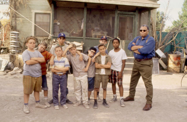 The cast of <em>The Sandlot</em> as they appeared in 1993, from left: Patrick Renna (Ham), Victor DiMattia (Timmy), Shane Obedzinski (Repeat), Mike Vitar (Benny), Tom Guiry (Smalls), Chauncey Leopardi (Squints), Marty York (Yeah-Yeah), Grant Gelt (Bertram), Brandon Quintin Adams (Kenny), and James Earl Jones (Mr. Mertle). (Photo: 20th Century Fox/Courtesy Everett Collection)