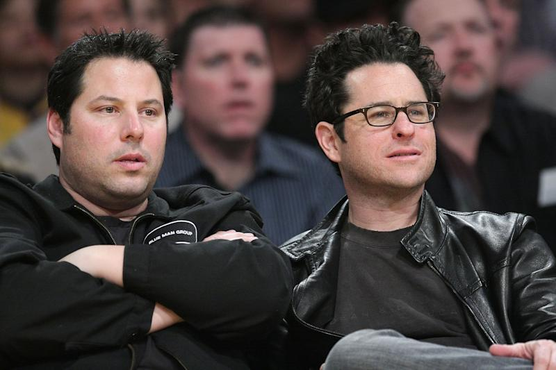 LOS ANGELES, CA - JANUARY 19: J.J. Abrams (R) and Greg Grunberg (L) attend the Los Angeles Lakers vs Cleveland Cavaliers game at the Staples Center on January 19, 2009 in Los Angeles, California. (Photo by Noel Vasquez/Getty Images)