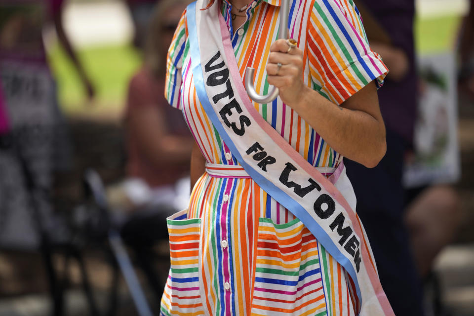 Jessica Ramirez joins a rally to support voter rights on the steps of the Texas Capitol, Thursday, July 8, 2021, in Austin, Texas. The Texas Legislature began a special session Thursday. (AP Photo/Eric Gay)