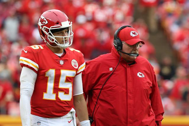 Pat Mahomes (15), Andy Reid and the Chiefs will go to battle in the second half of the season without having made a move for a defensive player at the trade deadline. (Getty)