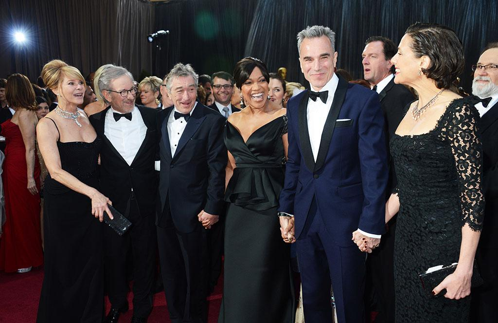 Kate Capshaw, Steven Spielberg, Robert De Niro, Grace Hightower; Daniel Day-Lewis, and Rebecca Miller arrive at the Oscars in Hollywood, California, on February 24, 2013.