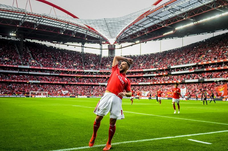 Haris Seferovic scored twice as Benfica sealed the Portuguese title at home against Santa Clara