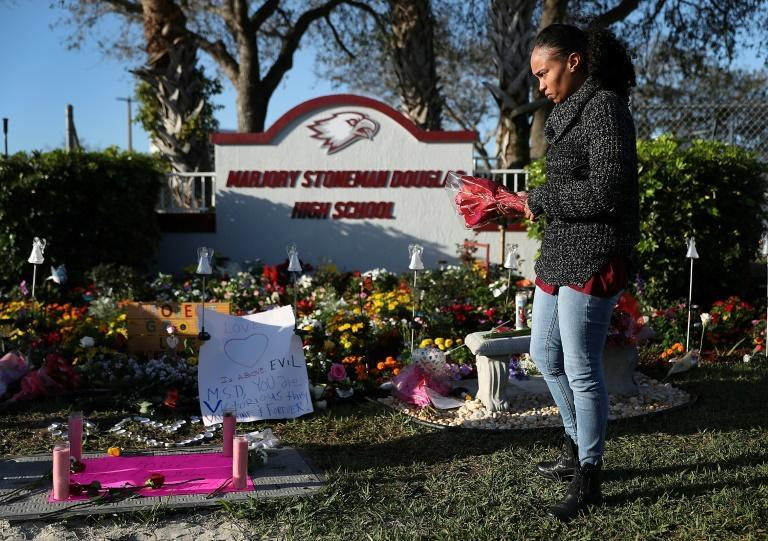 A memorial was set up at the Marjory Stoneman Douglas High School in Parkland, Florida on the anniversary of the February 14, 2018 mass shooting
