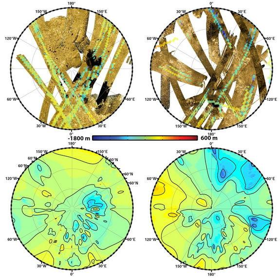 "These polar maps show the first global, topographic mapping of Saturn's moon Titan, using data from NASA's Cassini mission. To create these maps, scientists used a mathematical process called splining, which uses smooth curved surfaces to ""join"