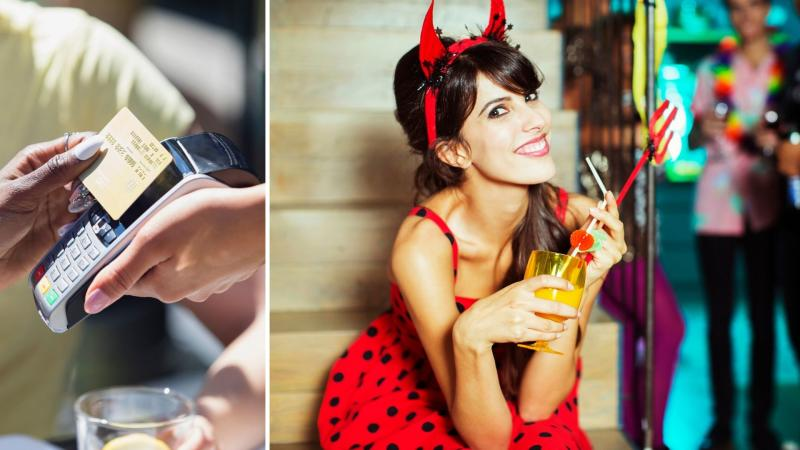 A credit card on the left and a woman dressed as Satan on the right.