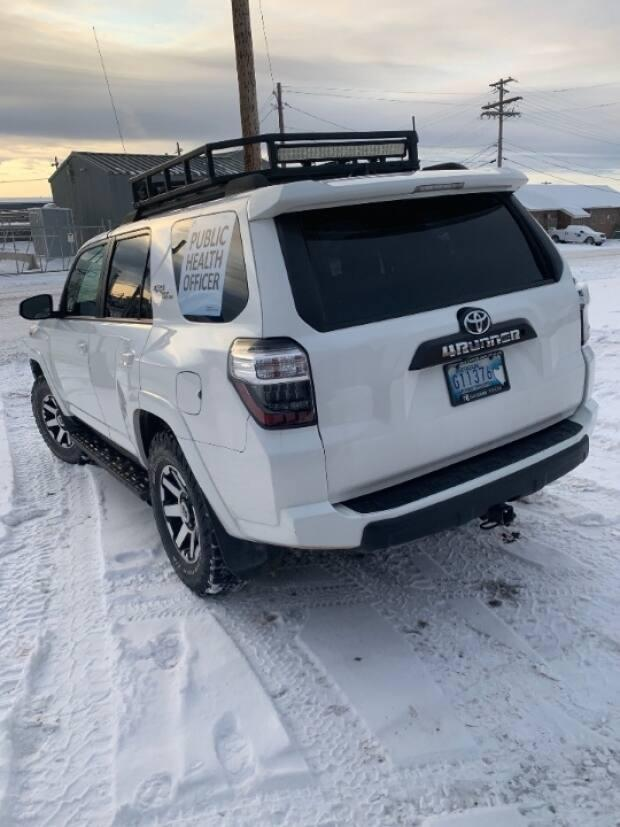 The Northwest Territories' COVID-19 Secretariat is leasing this vehicle for enforcement officials in the Beaufort Delta region. The company that is leasing the vehicle is partly owned by a senior government official in the region.