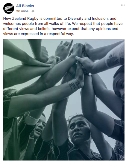 A Facebook post on the All Blacks page appears to respond to the Folau controversy. Pic: Facebook