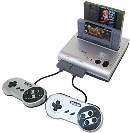 """This <strong><a href=""""https://amzn.to/37EwDe6"""" target=""""_blank"""" rel=""""noopener noreferrer"""">retro game system</a></strong> has a two-in-one design that allows you to play most of your favorite games from childhood in one modern and compatible set up. It includes two controllers, an AC adapter and AV cables. <strong><a href=""""https://amzn.to/37EwDe6"""" target=""""_blank"""" rel=""""noopener noreferrer"""">Get it on Amazon, $45</a></strong>."""