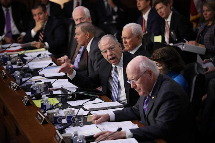 Senate Judiciary Committee Chairman Chuck Grassley (R-Iowa) shouts at Leahy as he questioned the lack of disclosure of Kavanaugh's documents. (Photo: Win McNamee via Getty Images)