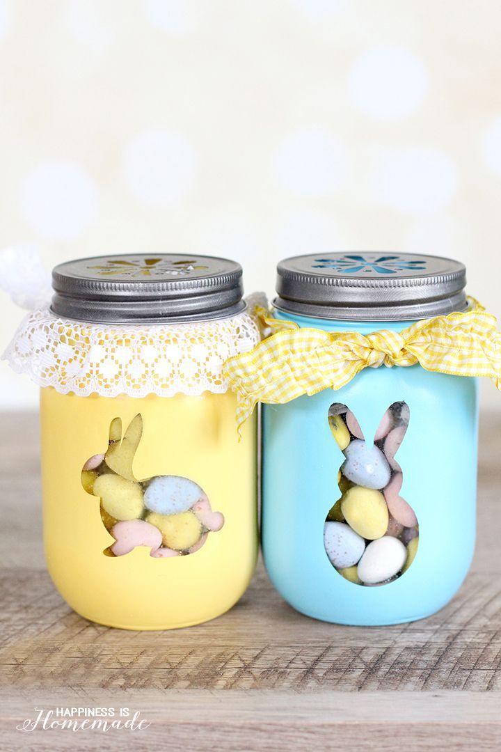 "<p>Give jars a cute makeover with silhouette stickers and a coat of chalk paint. Fill them with candy, baking mix, or DIY sugar scrub for a fun hostess gift. </p><p><strong>Get the tutorial at <a href=""http://www.happinessishomemade.net/2015/03/25/easter-bunny-treat-jars/"" rel=""nofollow noopener"" target=""_blank"" data-ylk=""slk:Happiness is Homemade"" class=""link rapid-noclick-resp"">Happiness is Homemade</a>.</strong></p><p><a class=""link rapid-noclick-resp"" href=""https://www.amazon.com/KAMOTA-Canning-Wedding-Favors-Shower/dp/B07VSWW6BG/ref=sr_1_1_sspa?tag=syn-yahoo-20&ascsubtag=%5Bartid%7C10050.g.1652%5Bsrc%7Cyahoo-us"" rel=""nofollow noopener"" target=""_blank"" data-ylk=""slk:SHOP JARS"">SHOP JARS</a></p>"