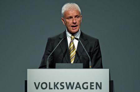 Volkswagen CEO Matthias Mueller delivers his speech at the annual shareholder meeting in Hanover