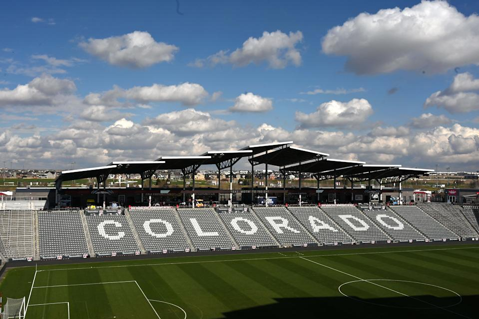 Apr 13, 2019; Commerce City, CO, USA; General overall view of Dick's Sporting Goods Park prior to a MLS soccer game between the D.C. United and the Colorado Rapids. Mandatory Credit: Kirby Lee-USA TODAY Sports