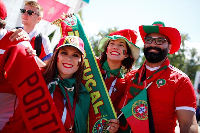 Soccer Football - World Cup - Group B - Portugal vs Morocco - Luzhniki Stadium, Moscow, Russia - June 20, 2018 Portugal fans outside the stadium before the match REUTERS/Axel Schmidt