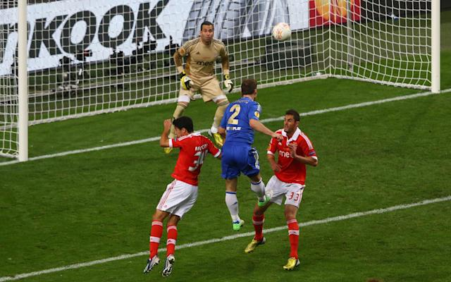 AMSTERDAM, NETHERLANDS - MAY 15: Branislav Ivanovic of Chelsea rises up to head in their second goal during the UEFA Europa League Final between SL Benfica and Chelsea FC at Amsterdam Arena on May 15, 2013 in Amsterdam, Netherlands. (Photo by Christof Koepsel/Getty Images)