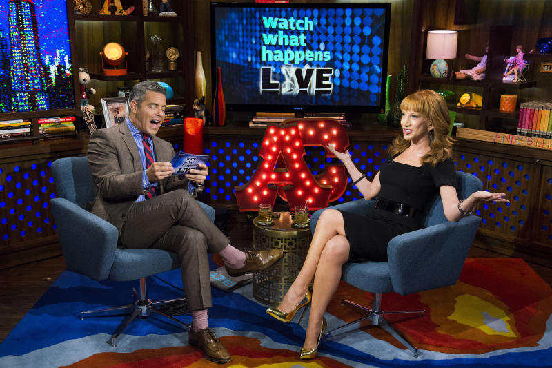 Andy Cohen and Kathy Griffin chatting on his Bravo TV show. (Bravo via Getty Images)