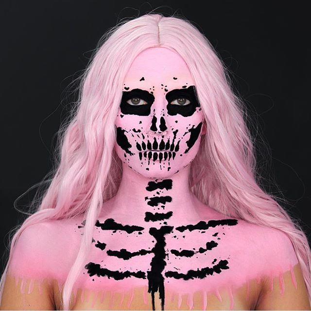"""<p>Skeletons are a favorite Halloween go-to, but it's the addition of a pink background that makes this makeup truly striking.</p><p><a class=""""link rapid-noclick-resp"""" href=""""https://www.amazon.com/Snazaroo-Classic-Face-Paint-18ml/dp/B000H6W2EE/ref=asc_df_B000H6W2EE/?tag=syn-yahoo-20&ascsubtag=%5Bartid%7C10050.g.34087783%5Bsrc%7Cyahoo-us"""" rel=""""nofollow noopener"""" target=""""_blank"""" data-ylk=""""slk:SHOP PINK BODY PAINT"""">SHOP PINK BODY PAINT</a></p><p><a href=""""https://www.instagram.com/p/Bownvfmne85/?utm_source=ig_embed&utm_campaign=loading"""" rel=""""nofollow noopener"""" target=""""_blank"""" data-ylk=""""slk:See the original post on Instagram"""" class=""""link rapid-noclick-resp"""">See the original post on Instagram</a></p>"""