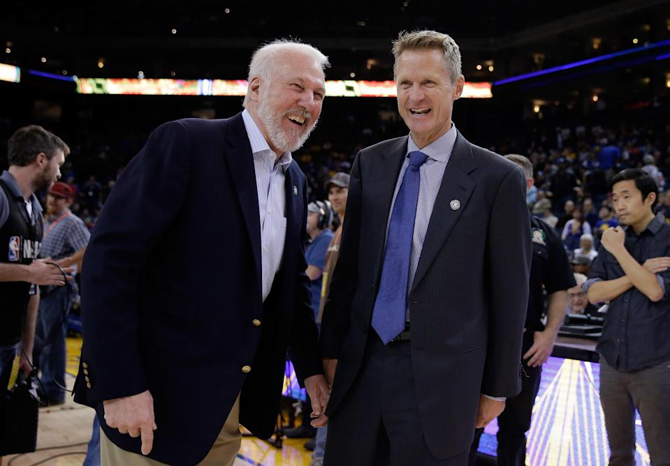 A presidential run isn't likely for Gregg Popovich and Steve Kerr, though the idea isn't going away. (Getty Images)